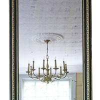 19th Century ebonised and gilt mirror overmantle
