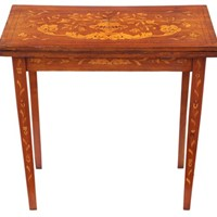 Victorian mahogany marquetry folding card table