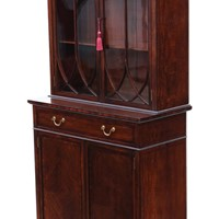 Mahogany glazed bookcase on cupboard