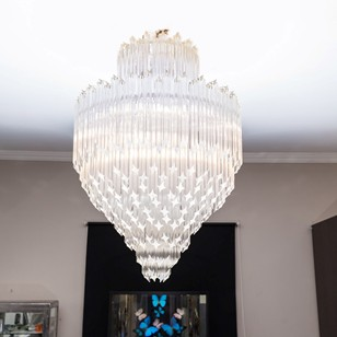 Pair of huge Murano glass chandeliers