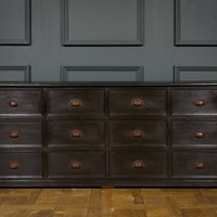 Large Black Bank of 12 Drawers