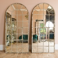 Tall Arched Antique Factory Mirror
