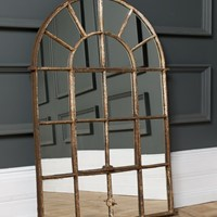 19th Century Arched Cast Iron Mirror