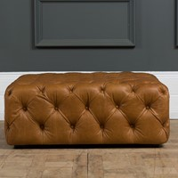 Contemporary Tank Leather Ottoman Tan / Black
