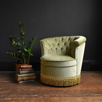 Fringed Dusky Green Bedroom Chair