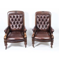 Antique Pair English Victorian Leather Armchairs c