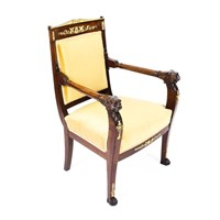 Antique Empire Mahogany & Ormolu Armchair 19th C