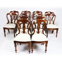 Antique Set 12 Victorian Dining Chairs 19th C