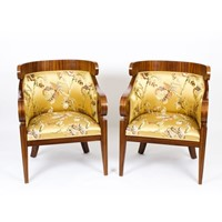 Antique Pair Art Deco Zebra Wood Armchairs 20th C