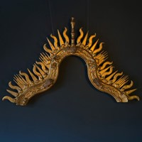 18th Century Giltwood Sunburst Surmount