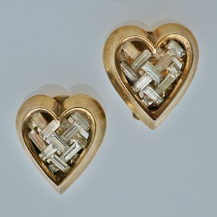 Trifari heart earrings, gilt, by Alfred Philippe