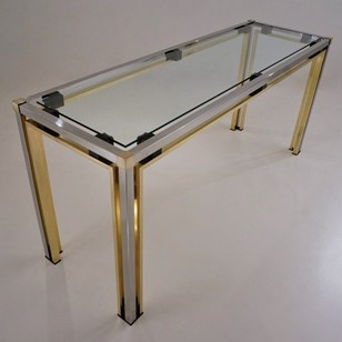 Romeo Rega console table, 160 cm, brass & chrome
