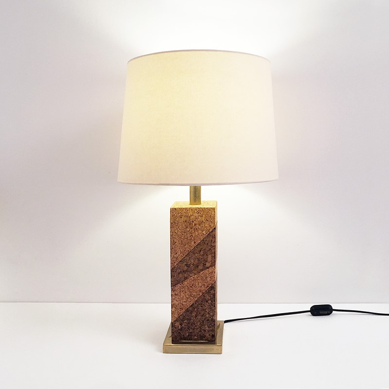 Mid Century Modern Cork & Brass Table Lamp Vintage-roomscape-brass-cork-lamp1-main-637237076913968833.jpg