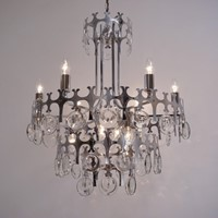 Sciolari large chandelier, chrome`Ovali` 12 lights