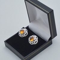 Pair Celtic knot earrings sterling silver & amber