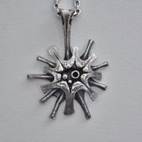 Guy Vidal necklace Supernova, silver gilt pewter