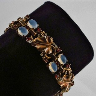 Trifari by Phillipe bracelet moonstones 1940`s USA