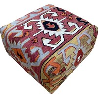 Kilim Covered Stool 0.69m x 0.69m x H0.44m
