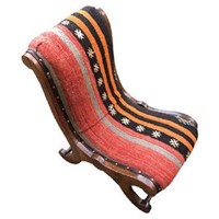 Kilim Covered Slipper Chair 0.58m X 0.41m X H0.69