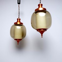 pair of 1950s copper and glass hanging lights