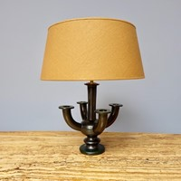 1950's black ceramic 4 armed table lamp