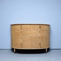1930's sycamore demi-lune chest of drawers