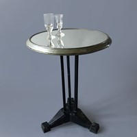 French 1920s Mirrored Top Bistro Table