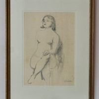 Pencil Sketch of Girl Nude Posing - Bruno Beran