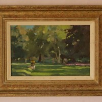 Summer Park 2 - Mid 20th Century Oil by Rickards