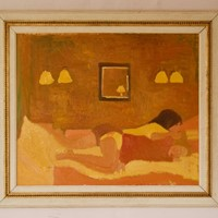Lesbian Couple in Bed - 20th Century Oil Lambirth