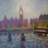 Westminster - Late 20th Century Acrylic by Quirke