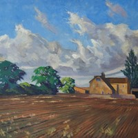 English Farmhouse - Impressionist Oil by Innes