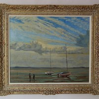Moored Sailing Boats - Impressionist Oil by Innes
