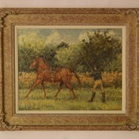 Training Day - Horse & Jockey Impressionist Oil