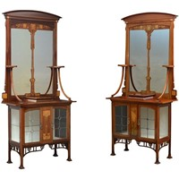 Unique Pair of Art Nouveau Cabinets