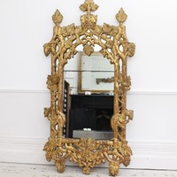 French 'Faux Bois' Carved Giltwood Mirror