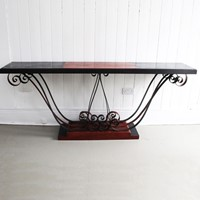 1930's Italian Painted Wood & Wrought Iron Console