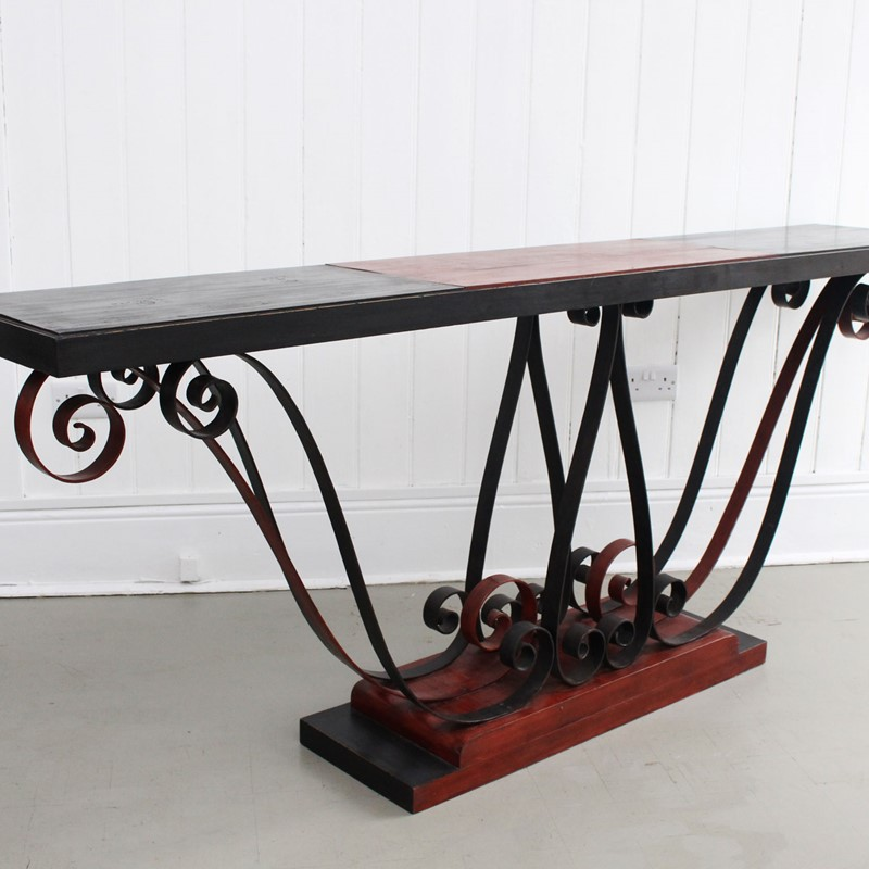 1930's Italian Painted Wood & Wrought Iron Console-streett-marburg-1930-s-red-black-console-table-french-streett-marburg-a673f-main-637375104094633774.jpg