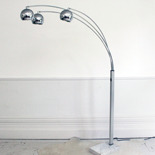 Chrome Arc Floor Light with Marble Base