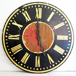 Very Large French 1930's Painted Metal Clock Face