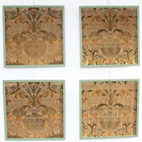 Set of Four Late 17th C Italian Woven Silk Panels