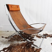 Leather & Chrome Lounge Chair by Marcello Cuneo