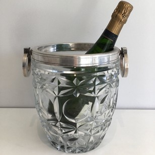 Art Deco glass & silver plated champagne bucket