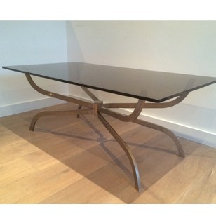 Maison Charles brushed steel coffee table