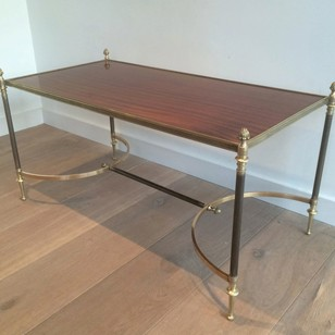 Maison JANSEN. Brushed metal and brass coff table