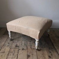 Large gilt and painted sprung stool