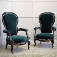 Pair of Napoleon III Balloon backed armchairs