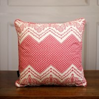 TallBoy Interiors 15inch cushion- Pink Zig Zag