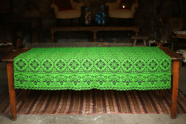 Mid 20th Century Gypsy blanket. Green Geometric -tallboy-interiors-thumb_OJ1A4185_1024_main_636521456158188790.jpg