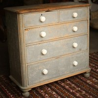 Victorian pine drawers in original blue paint